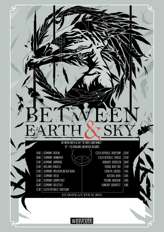 BETWEEN EARTH & SKY European tour 2013 poster