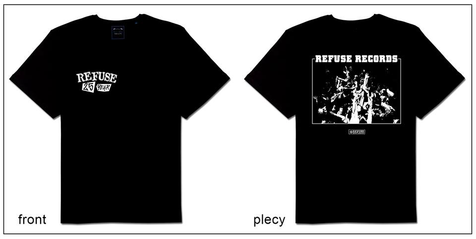 REFUSE RECORDS - 25 YEAR ANNIVERSARY T-SHIRT  Size L